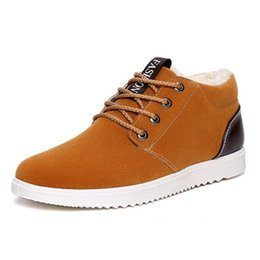 Wholesale Korean Shoes Boots - Wholesale- Low tide men's casual shoes lace Korean daily winter warm men shoes plus velvet shoes
