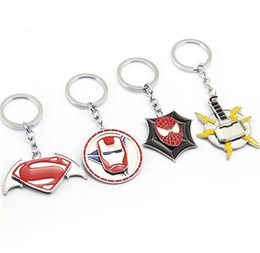 Wholesale Iron Man Jewelry - New Product The Avengers Iron Man Captain America Spider Man Key Chain Keychain Key Rings Holder Souvenir For Gift Men Jewelry