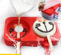 desenhos animados de palhaço Desconto Dos desenhos animados diy molde de sorvete de gelo picolé moldes picolé titular congelador molde de gelo com palitos de picolé cozinha ferramentas