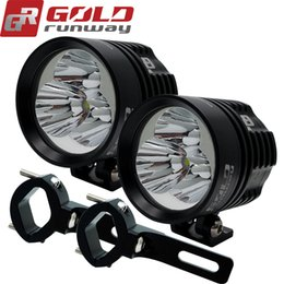 Wholesale motorcycle led spotlights - GOLDRUNWAY EXP4 Motorcycle Car LED Driving Spotlight Fog Lamp Light 3000lm For BMW+Clamp