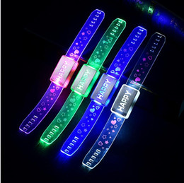 Wholesale Led Apply - Wholesale- 10PCS LED Colorful flash wristband, Apply for bar dance festival concert holiday celebrating, kids toys playing game