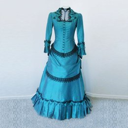 Wholesale Best Selling Taffeta Wedding Dress - Best Selling 2016 Blue Taffeta Victorian Bustle Ball Gown Dress Victorian Bustle Dress Costume Wedding Party Dresses Customized