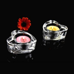 Wholesale Table Tea Light Holder - Heart-shaped tealight candle holders romantic glass Tea Light Candlestick for wedding table centerpieces decor home 6 pcs   lot