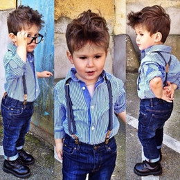 Wholesale Shirt Suspenders - Children Set Europena and American style blue stripe Shirt and Suspender Jeans Trouser boy long sleeve two pieces