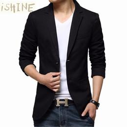 Wholesale Long Suit Coats For Men - Wholesale- Mens blazer slim fit suit jacket black   brown   khaki spring autumn outwear coat suits for male