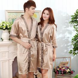 Wholesale Men Silk Nightwear - Wholesale- Lover Fashion Silk Satin Sleepwear Nightwear Women Robe&Gown Set Or Men Robe For Summer