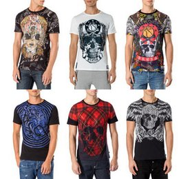 Wholesale Punk Style T Shirt - 2017 Punk Style Skull Leisure T Shirt Male Fashion Casual Tshirt Top With Embroidery Crystal Men's S S Tee Crew-Neck