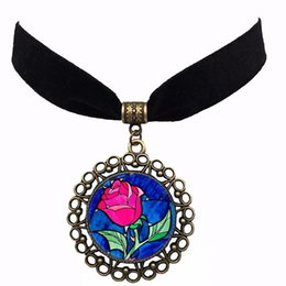 Wholesale Wholesale Beauty Beast - 2017 New Arrival Beauty and the Beast Sexy Anime Black Velvet Choker High Quality Women Rose Choker Drop Shipping Wholesale NS177