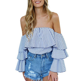 Wholesale Striped Chiffon Long - Women Sexy Off-shoulder Slash Neck Striped Blouse Tops Fashion Ruffled Shirts Tops Plus Size