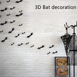 Wholesale 3d Wall Paintings Home - 3D Bat Wall Stickers Halloween Decorations 12pcs Set Mural Stereoscopic painting Festival Home Decor For Chrildren Room Pumpkin Ghost