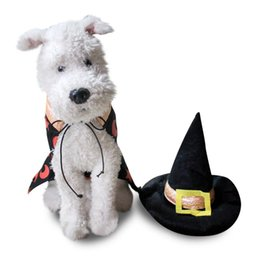 Wholesale Dress For Dog Male - Wizard Costume Puppy Cat Dog cosplay Vampire Fancy Dress Wizard Fancy Dress Dogs Puppy Coat Collar and Hat Suit Costume For Pet