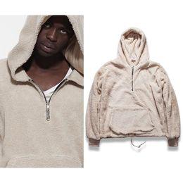 Wholesale Loose Clothes Fashion - Wholesale- Mens Half Zipper Pullover Fleece Sherpa Hoodies Men Streetwear Cool Kanye West Fashion Hiphop Urban Clothing Justin Biebers Tyga