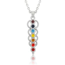 Wholesale Layered Crystal Necklaces - Best Selling Women's Spiritual Chakra 7 Crystals for Yoga Reiki Healing Layered Pendant Cord Necklace