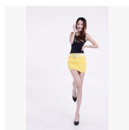 Wholesale Mini Jupe - Denim Skirt Femmes 2017 Sexy Candy Color Denim Jeans Denim Mini Skirt Jupe Vintage Adulte Sexy Mode Avant Boucle Cowboy Jupe