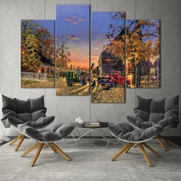 Wholesale Canvas Farm - Dave Barnhouse works, Farm landscape HD Canvas print 5 Panel Wall Art Oil Painting Textured Abstract Pictures Decor Living Room Decoration