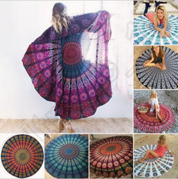 Wholesale Bohemian Shawls - Round Mandala Beach Towels Printed Tapestry Hippy Boho Tablecloth Bohemian Beach Towel Serviette Covers Beach Shawl Wrap Yoga CCA5612 20pcs