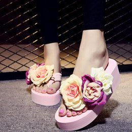 Wholesale Pink Rose Sandals Flower - Newest Wedge Rose Flower High Heel Sandals Fashion Beach Non-slip Shoes Women Slippers Sandals Girls Fashion Scuffs With High Quality