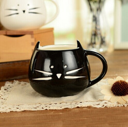 Wholesale Lovers Cup - Wholesale- PHFU hot Coffee Cup White Cat Animal Milk Cup Ceramic Lovers Mug Cute Birthday gift,Christmas Gift Coffee Cup