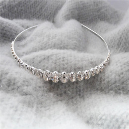 Wholesale Best Selling Headband - Best Selling Sparking One Row Rhinestone Clear Crystal Tiara Headband for Wedding Party Hair Accessories Bridal Jewelry for kids gift