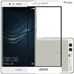 Wholesale Cover For Huawei Ascend P6 - Huawei P9 plus Full Cover Tempered Glass Screen Protector 2D Soft Edge Clear Screen Protector for Huawei P9 White Factory Foam Pack--YH0160