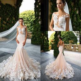 Wholesale Column Wedding Dresses Sleeves - 2017 Milla Nova Appliques Mermaid Wedding Dresses Sheer Neck Illusion Bodice Bridal Gowns Sexy Open Back Vestios De Novia