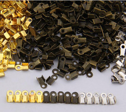 Wholesale Jewelry Connectors Pieces - DIY Jewelry Accessories Flat Clip End Cord Rope Jewelry Making Finishings Cap Large Medium Small 4 Col Color Select 10000 Piece