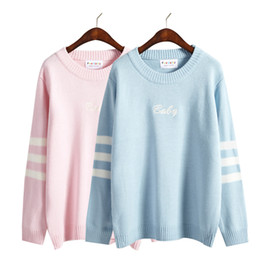 Wholesale Kawaii Knitting - Wholesale-2016 winter women sweaters new korean harajuku style cute embroidery striped long-sleeved kawaii rock letter sweaters