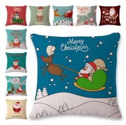 Wholesale Knitted Cushion Cover For Beds - Christmas Tree Pillow Cover Pillow Case Santa Claus Cushion Cover Cotton Linen Pillowcase for Home Bed Sofa Decoration
