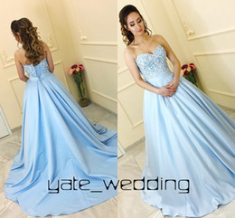 Wholesale sleeveless baby ball gown - Baby Blue Ball Gown Prom Dresses Sweetheart Ribbon Sash Corset Lace Up Light Blue Satin Quinceanera Dresses Sweet 16 Dresses