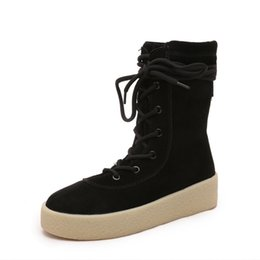 Wholesale Thick Platform Work Shoe - Autumn and winter woman fashion boots thick round toes soft bottom muffin Flat martin Boots for ladies Mid-calf shoes
