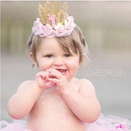 Wholesale Hair Sticks Styles - european style children hair accessories baby girl crown birthday hat lace headband kids lace flower hair bands