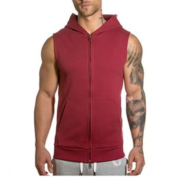 Wholesale Mens Vest Tank Tops - Free Shipping New Arrival Sleeveless Mens Tank Top with Zipper Fitness Clothes Men Bodybuilding Vest Undershirt Sports Hoodies ZL3024