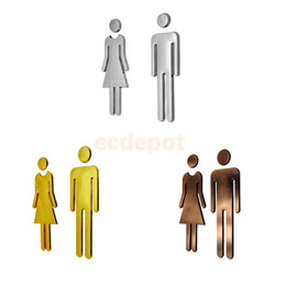 Wholesale Decal Glass Door - A Pair of Man & Woman WC Wall Stickers Decals Toilet Door Signs Restroom Washroom Signage Plaque Silver Bronze Golden