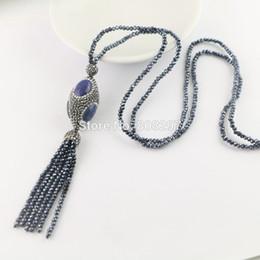 Wholesale Turquoise Lapis Pendants - New Style 4Pcs Pave Rhinestone Lapis lazuli Beads , Crystal Tassels Chains Charms Necklaces Pendants Jewelry Gift