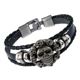 Wholesale Halloween Bracelet Spider - 2017 DIY Leather Beaded Bracelets for men Fashion Charm Jewelry Punk Wax Rope Cuffs Bangles Skull Spider 5 Stars Multilayer Alloy Bracelet