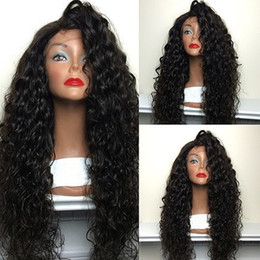 Wholesale Lace Wig Fiber - Free shipping Cheap High Quality Heat Resistant Japan Fiber Long Black Water Wave Synthetic Lace Front Wigs With Baby Hair for Black Women