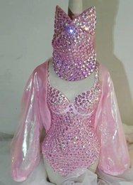 Wholesale Sparkling Bodysuit - Pink Full Diamond Sew On Bodysuit Outfit Female Singer Stage Wear Sparkling Rhinestone Dress Party Costume Customize Leotard