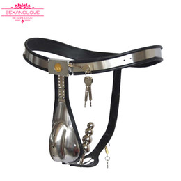 Wholesale Lockable Anal Plugs - Male Chastity Belt Stainless Steel T Type with Removable Anal Bead Plug Master Slave Lockable Penis Restraint Device BDSM sex toys for man