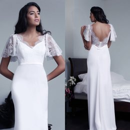 Wholesale Butterfly Beach Wedding - Elegant V-neck Wedding Dress Mermaid Sheath Country Style Illusion Lace Chiffon Bridal Gowns with Butterfly Sleeves Sash Sexy Open Back