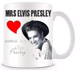 Wholesale Ceramic Bone China Mugs - Wholesale- Mrs Elvis Presley Ceramic white coffee mug cup personalized Elvis Presley Birthday Easter gifts Funny novelty travel game mug