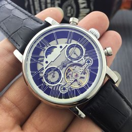 Wholesale Skeleton Date Automatic Mens Watch - Skeleton Watch Top Brand Luxury Men Fashion Wristwatches Automatic Mechanical Hand-Winding Watch Mens Natural Leather Watches Tourbillon