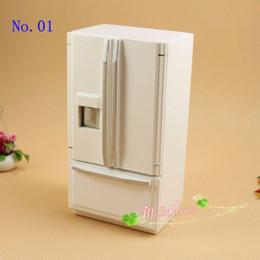 Wholesale Porcelain Furniture - 1:12 Dollhouse Miniatures Refrigerator 2 doors Doll House Fridge