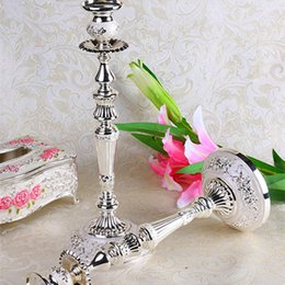 Wholesale Candle Pillars Holders Wholesale - Silver Candelabras Beaded Pillar Candle Holder Crystal Wedding Centerpiece Table Candlesticks Fashion Craft Candle Holders For Party