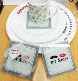 Favori di nozze tazze di vetro online-Bomboniere e regali per gli ospiti Mr. Mrs. Table cup Pad Mat Glass Cup Coasters 100pcs (50 set) all'ingrosso
