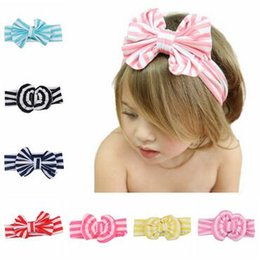 Wholesale Colorful Headbands For Baby Girls - Baby colorful girls fashion stripe Headband Big bowknot headwear Hairband for baby girl Bowknot take photo headwear F092