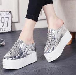 Wholesale Shoes Wedges Platform Rivet - 2017 summer slipper casual women's platform shoes rivet fashion design high heel shoes simple design comfortable and breathable shoes