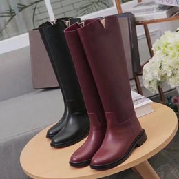 Wholesale Womens High Heel Motorcycle Boots - Fashion Luxury Womens Knee Boots Martin Winter Cow Leather Ladies 3MM Casual Shoes Fashion Booties 2 Colors Size 35-41 Free Shipping