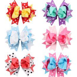 Wholesale Ribbon Layered Boutique - 12Pcs Lot 5 Inch Girls Colorful Dot Layered Ribbon Bows Hairpin Baby Girls Handmade Boutique Hair Clip Beautiful HuiLin DW57
