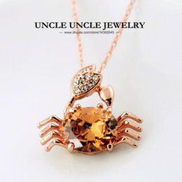 gold crab Promo Codes - Lovely Lucky Small Crab Pendant Rose Gold Color Champagne Austrian Crystal Woman Pendant Necklace Wholesale