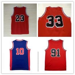 Wholesale name shirts - 2017 New Red 33 Scottie Pippen 91 Dennis Rodman 23 Michael Throwback Jerseys Shirts Camiseta de baloncesto With Name Black Blue White